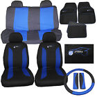 Universal Car Seat Cover Mat Set 15 PC Blue fits Citroen Synergie Xantia XM