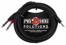 Pig Hog PB-S3410 10ft Stereo Breakout Cable 3.5mm to Dual 1/4 Ships FREE U.S.
