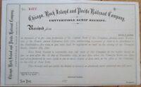 1870 Stock Scrip Certificate: 'Chicago, Rock Island & Pacific Railroad Company'