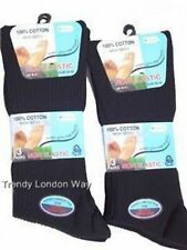 Mens Quality Diabetic Non-Elastic 100%25 Cotton Socks 6 - 11 Shoe Assorted Colours