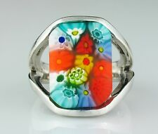 ALAN K. Signed Murano Glass Millefiori Solid Sterling Silver Split Shank Ring