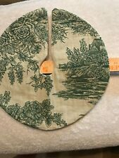 13.5 Green Toile Cream Upholstery Floral Christmas Tree Skirt table top size