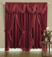 Sheer & Lace Victorian Window Curtain Set Satin Valance & Backing Panel BURGUNDY