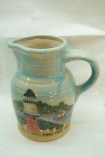LIGHTHOUSE POTTERY PITCHER WCL NAUTICAL JUG HAND PAINTED ART POTTERY 8in d