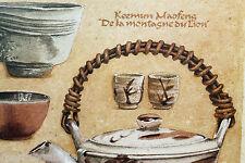Décoration murale zen théières anciennes 3x repro de peinture thé à encadrer