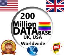 200 Million USA & UK, Worldwide Consumer Email List, Sales Leads Database✔️✔️