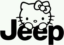 Hello Kitty Jeep vinyl decal sticker (any color)