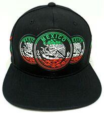 9a53f4e7d1b3f MEXICO Snapback Cap Hat Mexican Eagle Aguila Flag Black Flat Bill Adult  OSFM New