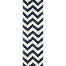 Hand-Tufted Chatham Dark Blue/Ivory Wool Rug 2' 3 x 7' Runner