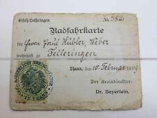 Radfahrkarte Alsace Lorraine à Thann en 1909 carte de cycliste ref W1579