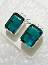 Chunky Blue Topaz Gemstone Big Stud Earrings Solid Silver 925 Bright stone