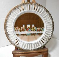 Vintage The Last Supper Plate Pierced Edge Gold Trim Hand Painted Napco 7""