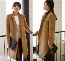 Wool Blend Womens Slim Camel Trench Coat Parka Tailored Collar Long Jacket Muk15