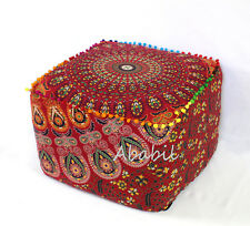 "18X18"" Indian Square Ottoman Pouf Seat Cover Red Multi Mandala"