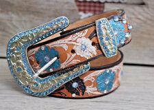 "Ladies Western Handtooled FLORAL Blue Rhinestone Leather Belt~ S 30-32"" STUNNING"