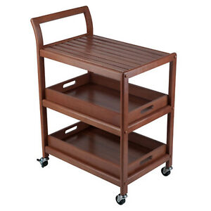 Winsome 33.27 Inch Tall Wood Albert Entertainment Kitchen Storage Cart, Walnut