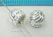 2x STERLING SILVER BRIGHT DOME END CAP CONE BEAD 7.2mm x 7.3mm #2507