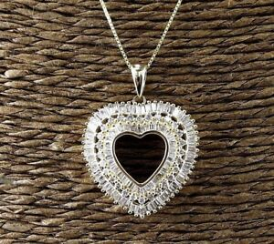 Natural Heart Shape Diamond Cluster Necklace Pendant 14K Yellow Gold 1.38Ct