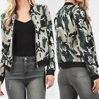 Fashion Women Ladies Casual Camouflage Coat Blazer Bomber Jacket Slim Short Suit