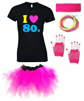 I LOVE THE 80s Ladies Outfit - Fancy Dress Costume Neon T-Shirt Tutu Gloves 80's