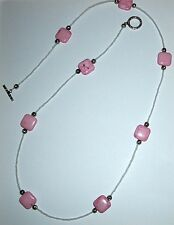 Pink turquoise sea glass white silver long beaded jewelry necklace cubes toggle
