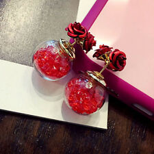 Fashion Women's Red Double Sides Rose Crystal Ball Ear Stud Earrings Jewellry