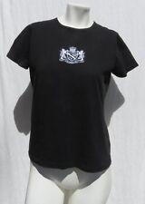 L-RL RALPH LAUREN ACTIVE Black Embroidered Crest 100% Cotton T Shirt Top size M