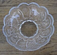 Clear Glass Serving Bowl Scalloped Edge Daisy & other floral Pattern