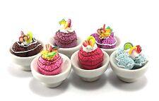 6 Mix Ice Cream Sundae & Fruit In Cup Dollhouse Miniature Food Supply Handcraft