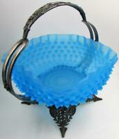 Antique Hobbs Dewdrop Bride's Bowl Sapphire Satin Glass with Silverplated Basket