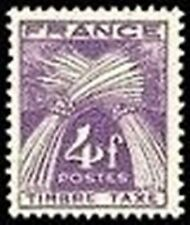 "FRANCE STAMP TIMBRE TAXE N° 84 "" TYPE GERBES 4F VIOLET"" NEUF xx LUXE"