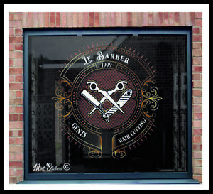 Barber Shop Window Stickers Signs Wall Decal Traditional Huge Size Style 24in
