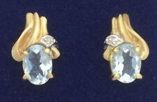 Orecchini di lusso con gemme bottoni di pietra principale acquamarina diamante