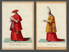 Original etching 1820 cardinale diacono cardinale diacono Costume Veste monzetta