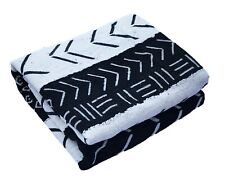 """African Black and White Mud Cloth Textile Mali 40"""" by 60"""""""