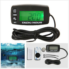 Motorcycle Backlight Digital Inductive Tach/Hour Meter For 2/4 Stroke Gas Engine