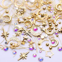 Mix Gold Nail Art Rivet Star Moon Pearl Rhinestones Gems 3D Decoration Manicure