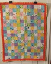 """HAND MADE ORANGE NOVELTY COTTON BABY LAP QUILT 40""""X30""""  FREE SHIPPING"""