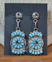 Zuni Earrings Dishta Style Turquoise Sunface Post dangle Studs Maxine Soseeah