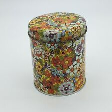 Vintage Metal Round Cookie Candy Coffee Tin Floral Pattern