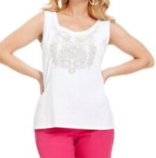 Style & Co Woman Top Sz 0X White Neutral Sleevless Beaded Detailed Casual Top