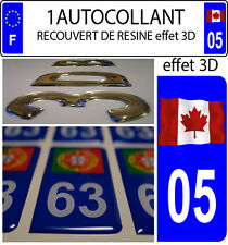 1 sticker plaque immatriculation auto DOMING 3D RESINE DRAPEAU CANADA FLOTAN  05