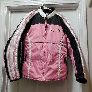 Mossi Racing Women's Pink Black White Nylon Snowmobile Winter Jacket Sz Small