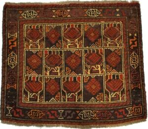 Vintage Rusty Red Tribal Handmade 2'1X2'5 Oriental Square Rug Wool Small Carpet
