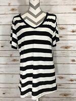 3XL XXXL LuLaRoe Christy T V Neck Striped Black White NWT