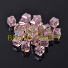 New 10pcs 8mm Cube Square Faceted Crystal Glass Loose Spacer Beads Aqua Red AB