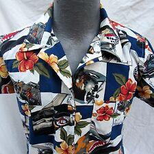 Hawaiian Aloha Shirt Womens Size L Pin Up Girl B-17 Flying Fortress Warhawk