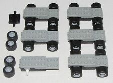 LEGO LOT OF 6 WIND UP PULL BACK MOTORS LIGHT GREY CARS BLACK SLICK WHEELS