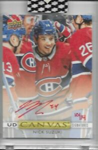 2019-20 UD Clear Cut Rookie Canvas On Card Autograph Nick Suzuki Red /14 Auto