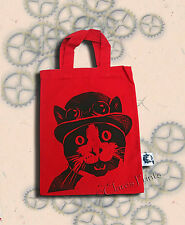 Steampunk Gato Bolso Rojo linograbado Mano Impreso Sombrero bombín de impresión de compras pequeñas